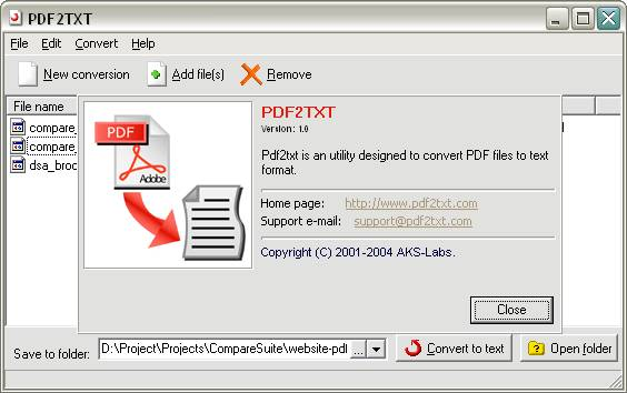 PDF2TXT - About Window